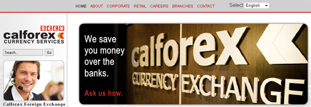Calforex currency exchange fee