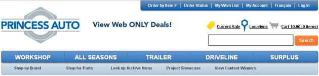 Princess Auto Parts Online